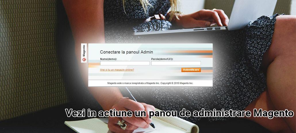 demo panou de administrare magento pentru magazine online