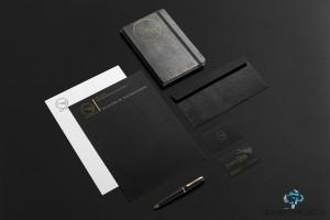 design logo si materiale promotionale pregatite de printat agenda pix carte de vizita plic documente negru si auriu